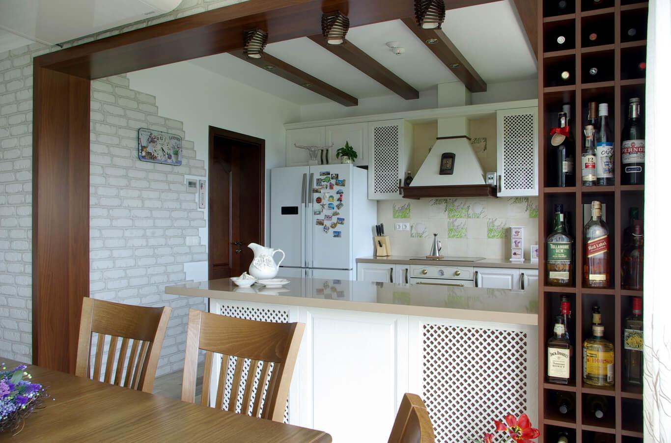 кухненски остров в бяло